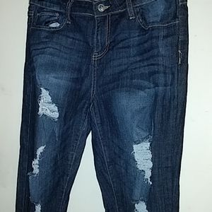 Cello ankle length distressed jeans